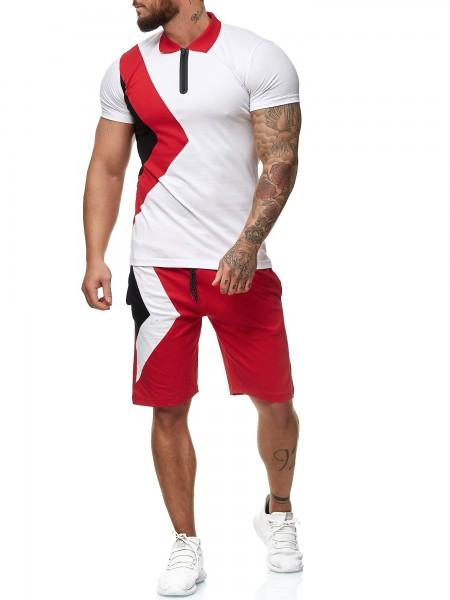OneRedox Hommes Short-Jogging Short-Jogging Suit Short Suit Sport Suit Short T-Shirt Modèle 12101