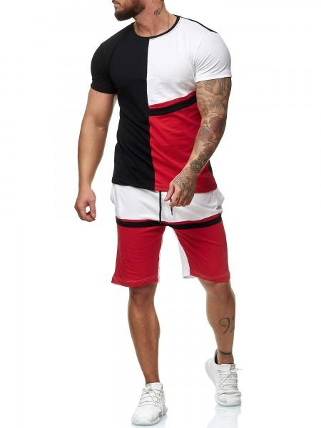 OneRedox Short Jogging Suit Hommes Short Suit Short Suit Sports Suit Short T-Shirt Modèle 12104