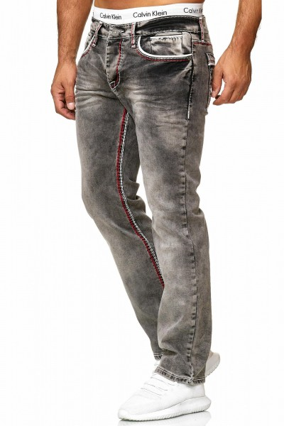OneRedox Hommes Jeans Jeans Denim Slim Fit Used Design Modèle 5166